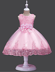cheap -A-Line Floor Length Flower Girl Dress - Lace / Tulle / Sequined Sleeveless Jewel Neck with Embroidery / Lace / Trim by U-SWEAR
