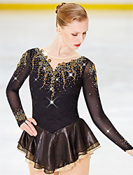 cheap -Figure Skating Dress Women's Girls' Ice Skating Dress Yan pink Black White Flower Spandex Elastane High Elasticity Competition Skating Wear Handmade Jeweled Rhinestone Long Sleeve Ice Skating Figure