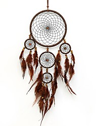 cheap -Boho Dream Catcher Handmade Gift Wall Hanging Decor Art Ornament Craft Feather 5 Circles Bead 60*16cm For Kids Bedroom Wedding Festival