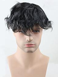 cheap -Men's Human Hair Toupees Wavy 100% Hand Tied Soft / Dark Gray
