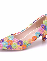 cheap -Women's Lace / PU(Polyurethane) Spring &  Fall Sweet Wedding Shoes Kitten Heel Pointed Toe Satin Flower Rainbow