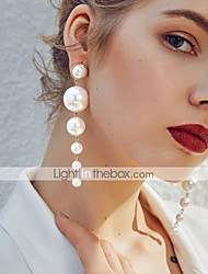 cheap -Women's Drop Earrings Long Floating Stylish Elegant Imitation Pearl Earrings Jewelry Beige / White For Gift Ceremony Festival 1 Pair