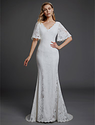 cheap -Mermaid / Trumpet V Neck Sweep / Brush Train Lace Half Sleeve Boho Wedding Dresses with Lace 2020