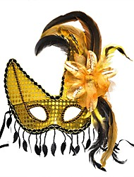 cheap -Feather Mask Venetian Mask Masquerade Mask Inspired by Princess Cosplay White Yellow Sexy Halloween Carnival Masquerade Adults' Women's Female / Half Mask