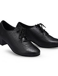 cheap -Women's Modern Shoes / Ballroom Shoes Leather Lace-up Heel Splicing Thick Heel Customizable Dance Shoes Black / Performance