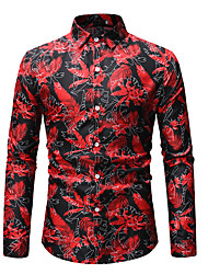cheap -Men's Going out Club Basic / Street chic Shirt - Floral Print Spread Collar Black / Long Sleeve / Spring / Fall