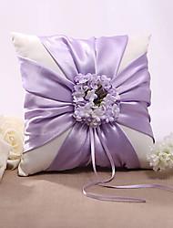 cheap -Silk Like Satin Floral Satin Ring Pillow Wedding All Seasons