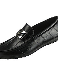 cheap -Men's Moccasin Leather / PU Spring Casual Boat Shoes Non-slipping Black / Yellow / Dark Blue