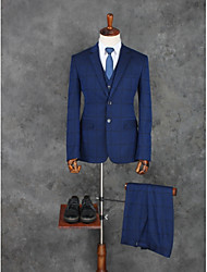 cheap -Striped / Patterned Tailored Fit Cotton / Polyester Suit - Slim Peak Single Breasted Two-buttons / Suits