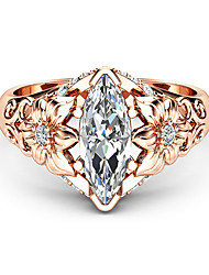 cheap -Women's Statement Ring Ring Diamond Cubic Zirconia 1pc Rose Gold Copper Rose Gold Plated Geometric Luxury Unique Design Party Gift Jewelry Classic Flower Cool Lovely