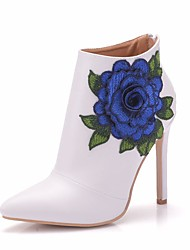 cheap -Women's Lace / PU(Polyurethane) Spring &  Fall Sweet Wedding Shoes Stiletto Heel Pointed Toe Booties / Ankle Boots Satin Flower White