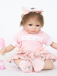 cheap -FeelWind 18 inch Reborn Doll Girl Doll Baby Girl lifelike Handmade Cute Child Safe Kids / Teen Cloth 3/4 Silicone Limbs and Cotton Filled Body with Clothes and Accessories for Girls' Birthday and