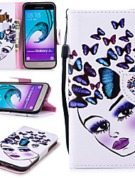 cheap -Case For Samsung Galaxy J3 (2016) Wallet / Card Holder / Shockproof Full Body Cases Butterfly / Sexy Lady Hard PU Leather