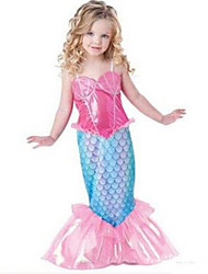cheap -The Little Mermaid Cosplay Costume Halloween Props Flower Girl Dress Kid's Girls' A-Line Slip Cartoon Halloween Halloween Children's Day New Year Festival / Holiday Chinlon Fuchsia Carnival Costumes