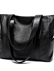 cheap -Women's Bags PU Leather Tote Zipper Leather Bags Daily Black