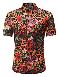 cheap -Men's Work Club Street chic / Punk & Gothic Shirt - Floral / Leopard / Color Block Print Rainbow / Short Sleeve