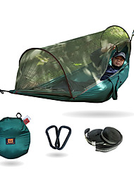 cheap -Camping Hammock with Pop Up Mosquito Net Outdoor Lightweight Quick Dry Anti-Mosquito Breathability Wearable Nylon for 1 person Fishing Camping Black Blue Dark Green Pop Up Design Two Ways To Use
