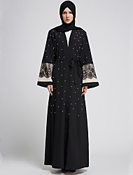 cheap -Adults' Women's A-Line Slip Ethnic Arabian Dress Abaya Kaftan Dress Jalabiya Muslim Dress Maxi Dresses For Halloween Daily Wear Festival Elastane Polyster Patchwork Long Length Dress 1 Belt