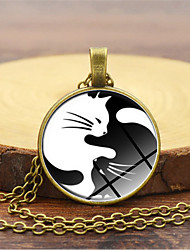 cheap -Women's Pendant Necklace Classic Cat yin yang Simple Fashion Glass Chrome Black Gold Silver 45+5 cm Necklace Jewelry 1pc For Daily