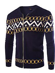 cheap -Men's Daily Geometric Pattern Long Sleeve Slim Regular Cardigan Sweater Jumper Black / Blue / Navy Blue L / XL / XXL
