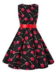 cheap -Audrey Hepburn Floral Style Vintage Vintage Inspired Hepburn Dress JSK / Jumper Skirt Girls' Kid's Costume Red / black Vintage Cosplay Party / Evening Family Gathering Festival Sleeveless Above Knee