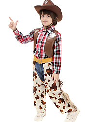 cheap -Westworld West Cowboy Cowboy Costumes Kid's Boys' Outfits Active Christmas Halloween Carnival Festival / Holiday Leather Cotton Coffee Carnival Costumes Plaid / Check