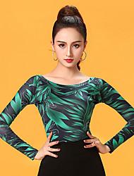 cheap -Ballroom Dance Top Pattern / Print Women's Performance Long Sleeve Ice Silk