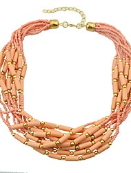 cheap -Women's Bead Necklace Stacking Stackable Interwoven Necklace Boho Acrylic Resin Chrome Beige Blue Pink 44 cm Necklace Jewelry 1pc For Daily