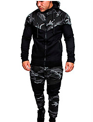cheap -Men's Activewear Set / Hoodie Camo / Camouflage Hooded Basic Long Sleeve Army Green Light gray Dark Gray M L XL XXL XXXL