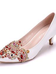 cheap -Women's PU(Polyurethane) Spring &  Fall Sweet Wedding Shoes Kitten Heel Pointed Toe Rhinestone White