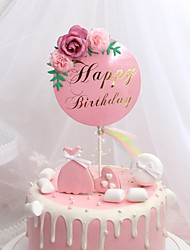 cheap -Cake Topper Garden Theme / Classic Theme / Holiday Artistic / Retro / Unique Design Pure Paper Birthday with Flower 1 pcs OPP