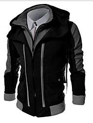 cheap -Men's Hoodie Color Block Hooded Basic Sports - Long Sleeve Black Light gray Dark Gray M L XL XXL XXXL / Spring / Fall
