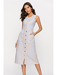 cheap -Women's Daily Basic Sheath Dress - Striped Print High Waist U Neck Summer Cotton Khaki S M L XL
