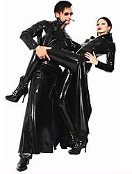 abordables -Combinaison Morphsuit Costume de peau Ninja Adulte Cuir Coton Costumes de Cosplay Manteaux Halloween Homme Femme Noir Couleur Pleine Halloween Carnaval Mascarade