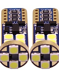 cheap -2pcs T10 Motorcycle / Car Light Bulbs 1 W SMD 3528 200 lm 12 LED Turn Signal Lights / Interior Lights / Side Marker Lights For universal All years