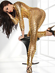 cheap -Party Costume Catsuit Skin Suit Adults' Latex Cosplay Costumes Zipper Front Nightclub Jumpsuits Sex Women's Black / Gold / Silver Hollow Christmas Halloween Carnival