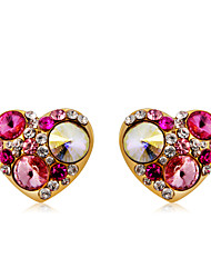 cheap -Women's Multicolor Crystal Stud Earrings Classic Heart Fashion Modern Cute Gold Plated Imitation Diamond Earrings Jewelry Rainbow For Daily Formal 2pcs