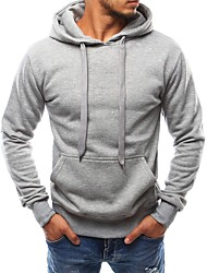 cheap -Men's Hoodie Solid Colored Hooded Daily Sports Holiday Basic Streetwear Hoodies Sweatshirts  Long Sleeve Black Light gray Navy Blue / Spring / Fall / Work