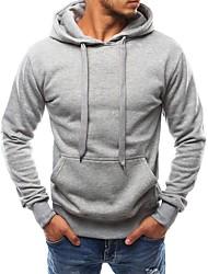 cheap -Men's Hoodie Solid Colored Hooded Basic / Street chic Sports - Long Sleeve Black Light gray Navy Blue M L XL XXL XXXL XXXXL / Spring / Fall / Work