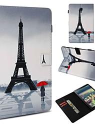 cheap -Case For Samsung Galaxy Tab 4 10.1 / Tab S4 10.5 (2018) / Tab A 9.7 Wallet / Card Holder / Shockproof Full Body Cases Sexy Lady / Eiffel Tower Hard PU Leather