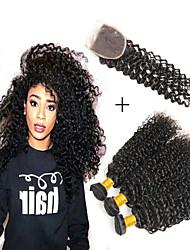 Недорогие -3 комплекта с закрытием Бразильские волосы Kinky Curly Не подвергавшиеся окрашиванию человеческие волосы Remy 345 g Человека ткет Волосы Аксессуары для костюмов Пучок волос 8-20 дюймовый