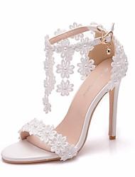 cheap -Women's Lace / PU(Polyurethane) Spring & Summer Sweet Wedding Shoes Stiletto Heel Peep Toe Imitation Pearl / Buckle / Tassel White