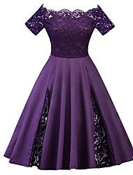cheap -Women's Plus Size Wine Purple Dress 1950s Vintage Spring Party A Line Solid Colored Off Shoulder Lace XL XXL / Sexy