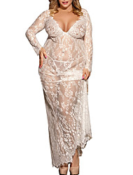 cheap -Women's Lace Plus Size Sexy Lace Lingerie / Robes / Ultra Sexy Nightwear Solid Colored Black White M XL XXXL / V Neck