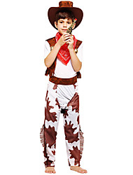 cheap -Westworld West Cowboy Cowboy Costumes Kid's Boys' Outfits Christmas Halloween Carnival Festival / Holiday Polyster Coffee Easy Carnival Costumes Printing / Vest / Pants / Scarf / Hat