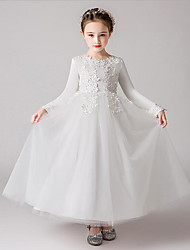 cheap -A-Line Ankle Length Flower Girl Dress - Polyester / Tulle Long Sleeve Jewel Neck with Embroidery / Solid / Trim / First Communion