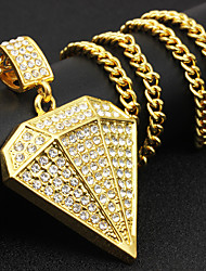 cheap -Men's Cubic Zirconia Pendant Necklace Geometrical Rock Fashion Hip-Hop Hip Hop Chrome Imitation Diamond Gold Silver 71 cm Necklace Jewelry 1pc For Street Club