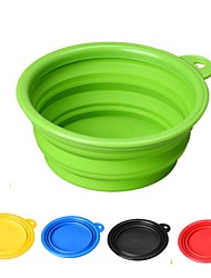 cheap -Rodents Dogs Cats Bowls & Water Bottles / Feeders / Food Storage 1/0.35 L Silica Gel Durable Folding Red Green Blue Bowls & Feeding