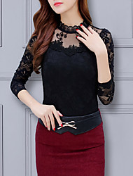 cheap -Women's Daily Plus Size Slim Blouse - Geometric Lace / Vintage Style Crew Neck Red / Spring / Summer / Fall / Winter