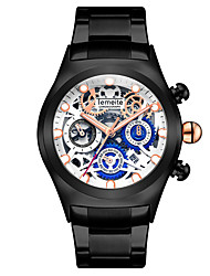 cheap -Men's Dress Watch Skeleton Watch Quartz Stainless Steel Black / Silver Water Resistant / Waterproof Calendar / date / day Noctilucent Analog Classic Casual Fashion - Black / Blue Silvery / White